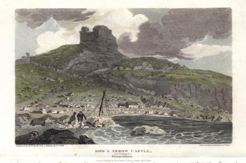 BOW-ARROW-CASTLE-in-Portland-Dorsetshire-Rufus-Castle-by-J-C-Smith-W-Woolnoth-c-1808-Beauties-of-England-Wales