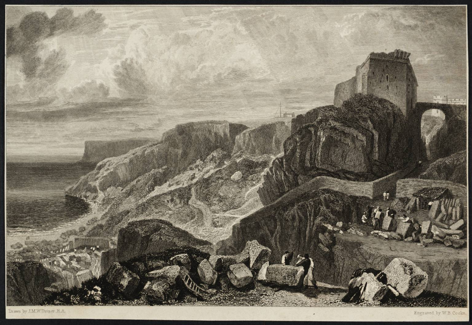 Bow and Arrow Castle, Isle of Portland, engraved by W.B. Cooke published 1817 by Joseph Mallord William Turner 1775-1851